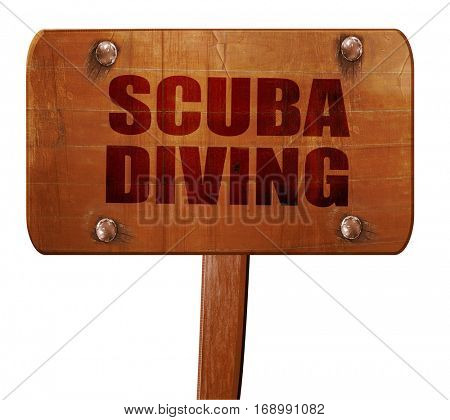 scuba diving, 3D rendering, text on wooden sign