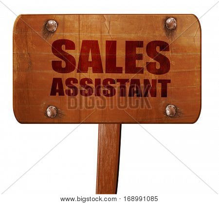 sales assistant, 3D rendering, text on wooden sign