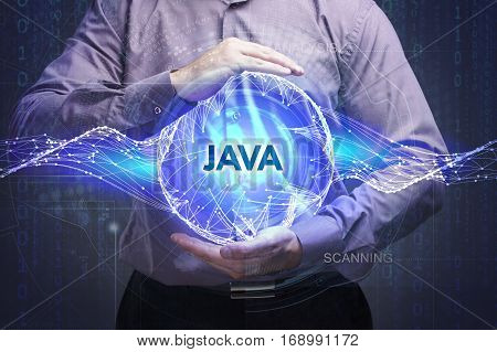 Business, Technology, Internet And Network Concept. Young Businessman Shows The Word: Java