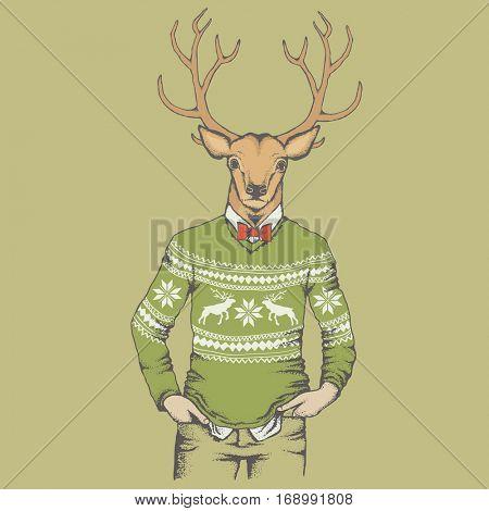 Deer vector illustration. Reindeer in human sweatshirt