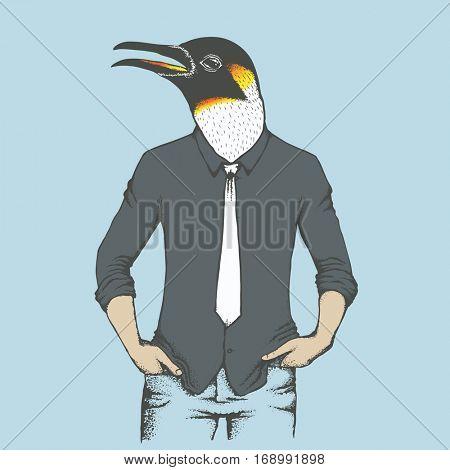 Penguin vector illustration concept. Penguin in human suit