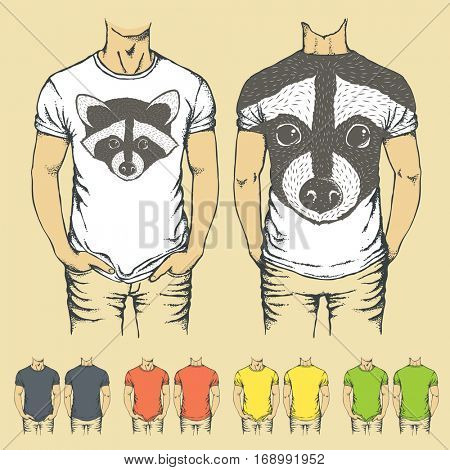 Vector t-shirts templates with prints of raccoon. Top and back side of t-shirts