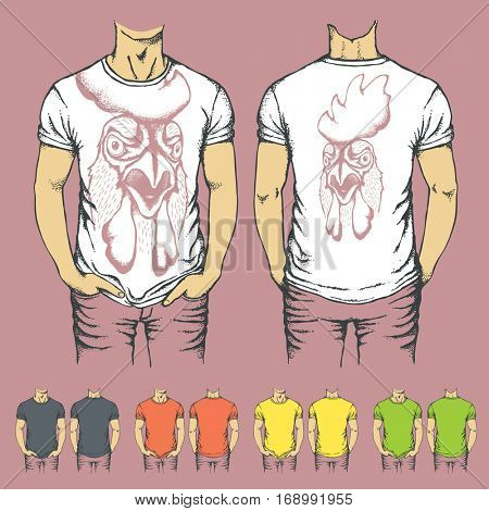 Vector t-shirts templates with prints of rooster. Top and back side of t-shirts