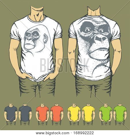 Vector t-shirts templates with prints of gorilla monkey. Top and back side of t-shirts