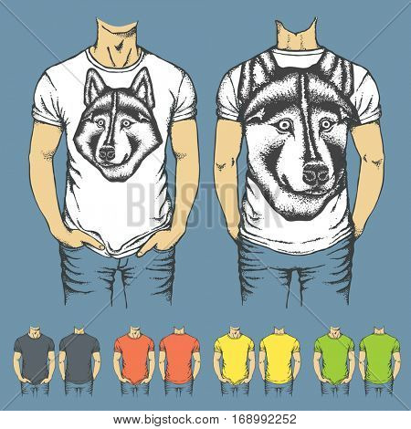 Vector t-shirts templates with prints of husky dog. Top and back side of t-shirts