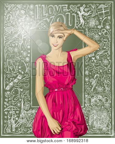 Valentine day concept. Vector surprised woman in pink dress against Valentine day elements background