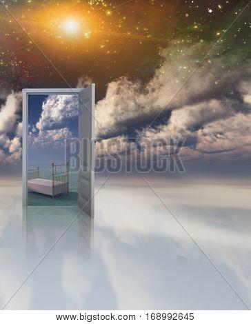 Doorway in serene space opens into other realm  3D Render