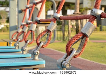 Perspective of rope slings in the playground,use a symbol for strength, tolerance, endeavor concept,construction equipment.