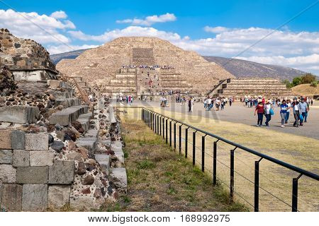 TEOTIHUACAN,MEXICO - DECEMBER 26,2016 : Tourists at the Pyramids in Teotihuacan, a major achaeological site in Mexico