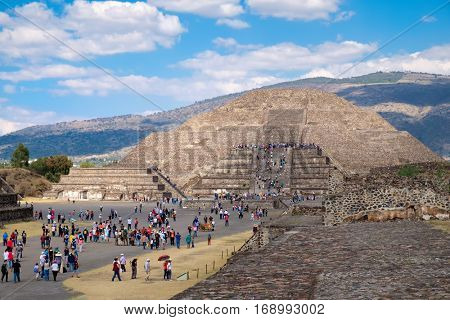 The Pyramid of the Moon   at Teotihuacan, a major archaelogical site near Mexico City