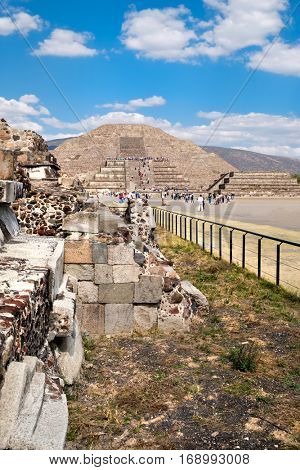 The Pyramids and the Avenue of the Dead at Teotihuacan, a major archaelogical site near Mexico City