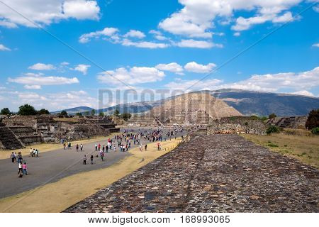 The Pyramid of the Moon  and the Avenue of the Dead at Teotihuacan, a major archaelogical site near Mexico City
