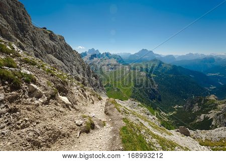 High mountain path in the Dolomites