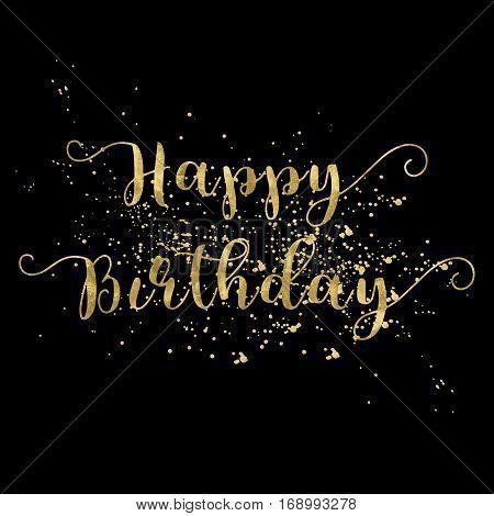 Happy Birthday card gold words on black background