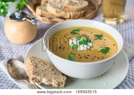Bowl of Spicy Creamy Carrot and Lentil Soup