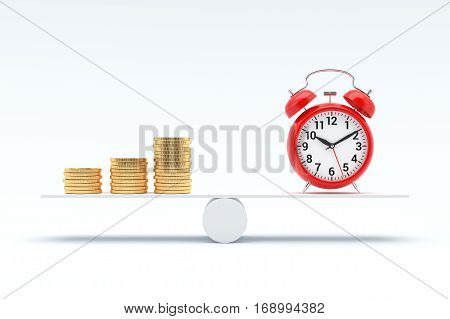Money and Time balance concept, Stacks of coins and clock on scale board. 3D illustration