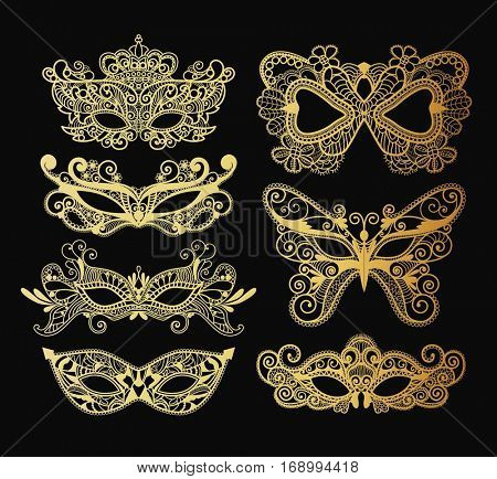 Mardi Gras Carnival mask of lace golden collection set. Mono line style. Vector Illustration Background.