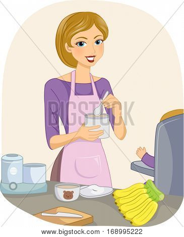 Illustration of a Young Mother Preparing a Nutritious Meal for Her Baby