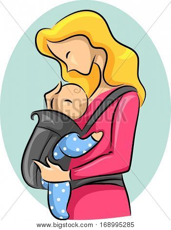 Sketchy Illustration Featuring a Woman Looking Fondly at Her Baby Strapped to a Carrier