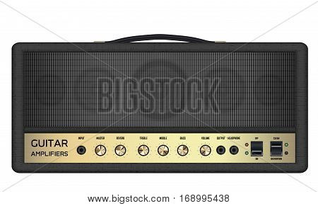 a real classic black guitar amplifier vector