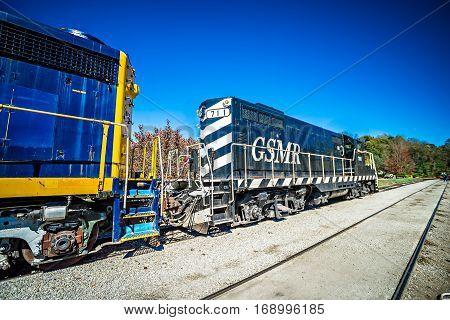 Bryson city NC October 23 2016 - Great Smoky Mountains Train ride city scenes