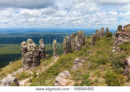 boundless expanse. view from mountains. natural stone pillars. phenomenon. Santiago. Chiquitania Bolivia Stock photo