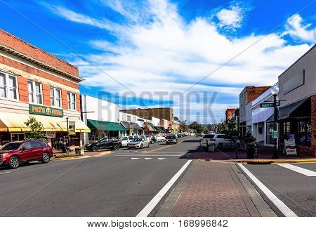 Prattville Alabama USA - January 28 2017: A view up Main Street in the historic downtown of Prattville.