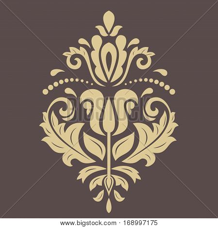 Oriental vector golden pattern with arabesques and floral elements. Traditional classic ornament. Vintage pattern with arabesques