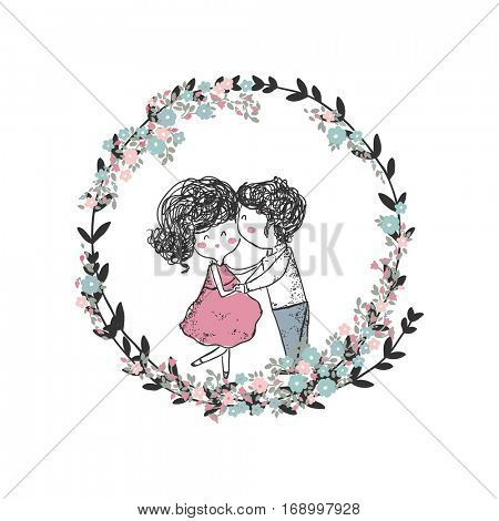kissing couple in floral wreath