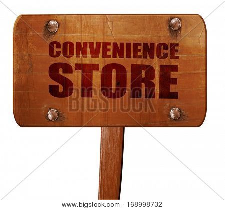 convenience store, 3D rendering, text on wooden sign