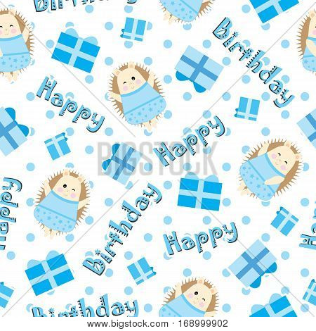 Birthday seamless pattern with cute hedgehog and birthday gift on polka dot background suitable for birthday wallpaper, scrap paper, and fabric