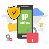 Vector concept of IP address. Banner for web infographic or techology innovation. Mobile with secure shield and padlock on web elements poster