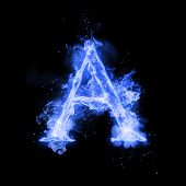 Fire letter A of burning blue flame. Flaming burn font or bonfire alphabet text with sizzling smoke and fiery or blazing shining heat effect. Incandescent cold fire glow on black background poster