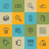 Set Of 16 E-Commerce Icons. Includes Recurring Payements, Price, Outgoing Earnings And Other Symbols. Beautiful Design Elements. poster