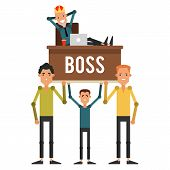 Servants are on the hands of his boss in the crown. Businessman sitting on a chair and put his feet up on the desk. Vector illustration isolated on white background. poster