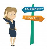 Caucasian woman standing at road sign with two career pathways - entrepreneur and employee. Young woman making a decision of future career. Vector flat design illustration isolated on white background poster