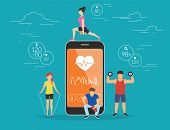 Health care mobile app concept illustration. Young men and women are standing near big smartphone with app for sport and fitness tracking heart beating data and getting information of pulse rate poster