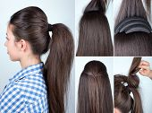 volume hairstyle ponytail with bouffant tutorial. Hairstyle for long hair tutorial. Simple hairstyle with hair bump tool poster