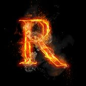 Fire letter R of burning flame. Flaming burn font or bonfire alphabet text with sizzling smoke and fiery or blazing shining heat effect. Incandescent hot red fire glow on black background. poster