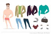 Clothing sets for men. Constructor of the character. Creating a character style. Different types of attire for a guy. Cartoon style. poster