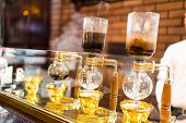 Siphon Coffee Brewing for hot coffee poster