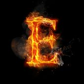 Fire letter E of burning flame. Flaming burn font or bonfire alphabet text with sizzling smoke and fiery or blazing shining heat effect. Incandescent hot red fire glow on black background poster
