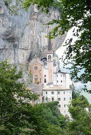 Santuario Madonna della Corona church in Ferrara di Monte Baldo Verona Italy. A place of silence and meditation extended between heaven and earth hidden in the heart of the Baldo rocks.