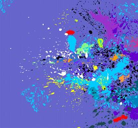 Abstract vector background with bright multicolored splatters.