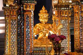 Erawan Shrine Famous Landmark at Night in Bangkok Thailand