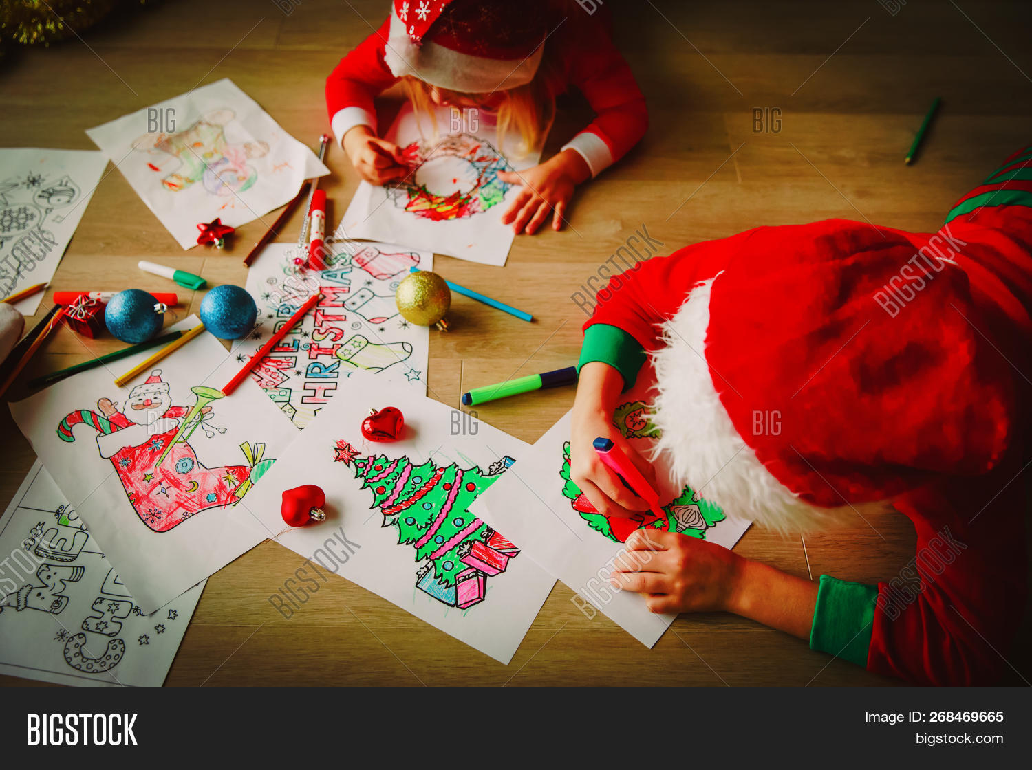 Christmas Ideas For Kids Drawing.Kids Making Christmas Image Photo Free Trial Bigstock