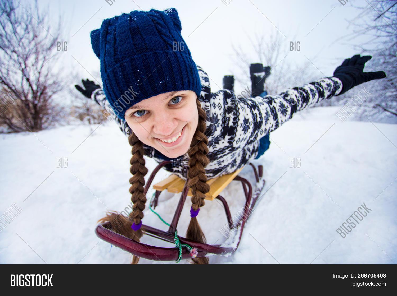 Christmas Vacation Sled.Crazy Woman Enjoy Image Photo Free Trial Bigstock