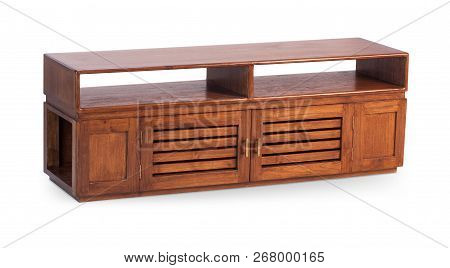 Brown wooden TV stand, bureau, commode with boxes. Modern designer, commode isolated on white background. Series of furniture poster