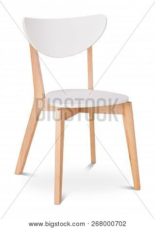 White Color Chair, Plastic, Wooden, Leather Chair, Modern Designer. Chair Isolated On White Backgrou