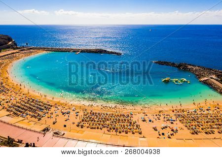 August 10, 2018. Gran Canaria, Spain. Aerial View Of The Amadores Beach On The Gran Canaria Island I